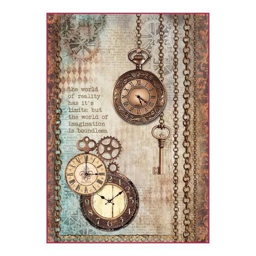 Ριζόχαρτο Stamperia 21x29cm, Clockwise clock and keys