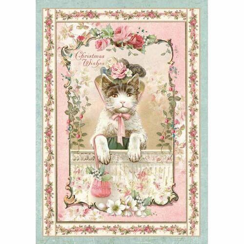 Ριζόχαρτο Stamperia 21x29cm A4,  Pink Christmas kitten