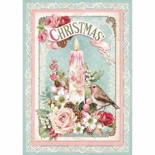 Ριζόχαρτο Stamperia 21x29cm A4,  Pink Christmas candle