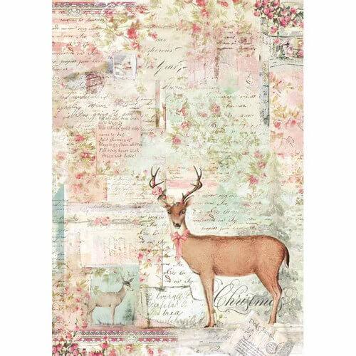Ριζόχαρτο Stamperia 21x29cm A4,  Pink Christmas reinder