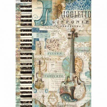 Ριζόχαρτο Stamperia 21x29cm A4,  Music violin