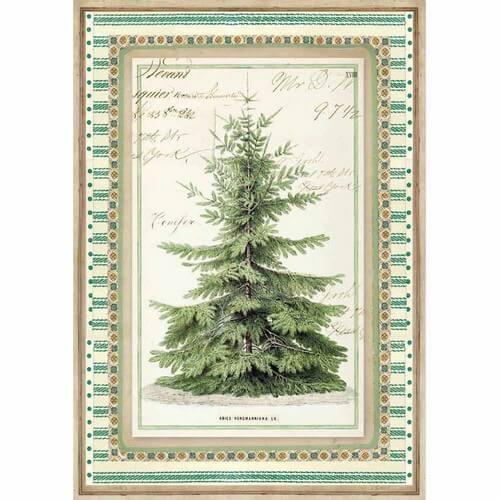 Ριζόχαρτο Stamperia 21x29cm A4,  Winter Botanic Christmas Tree