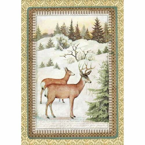 Ριζόχαρτο Stamperia 21x29cm A4,  Winter Botanic Reindeer
