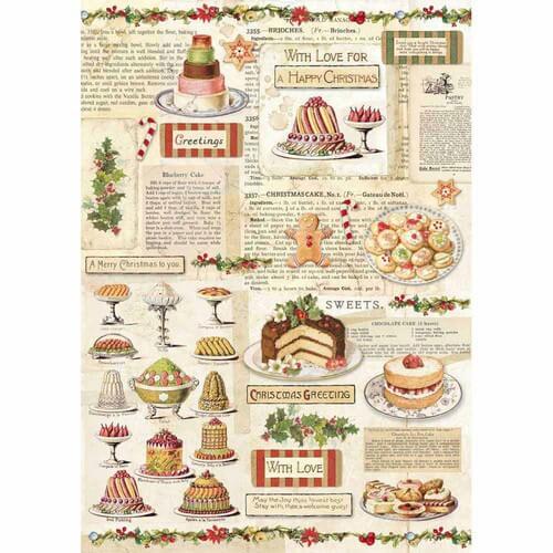 Ριζόχαρτο Stamperia 21x29cm A4,  Christmas Vintage Patisserie