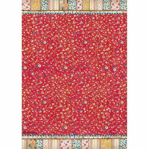 Ριζόχαρτο Stamperia 21x29cm A4,  Patchwork texture red background
