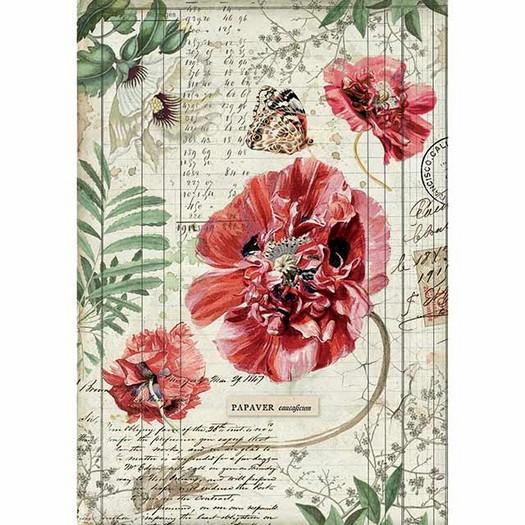 Ριζόχαρτο Stamperia 21x29cm A4, Poppies