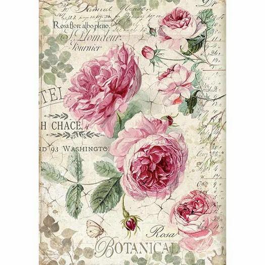 Ριζόχαρτο Stamperia 21x29cm A4, Botanic English Roses