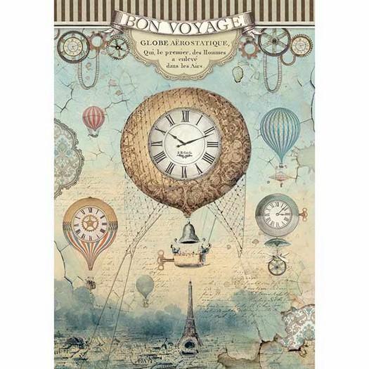 Ριζόχαρτο Stamperia 21x29cm A4, Voyages Fantastiques ballons