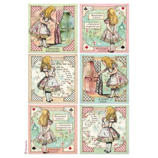 Ριζόχαρτο Stamperia 21x29cm A4,  Alice Cards