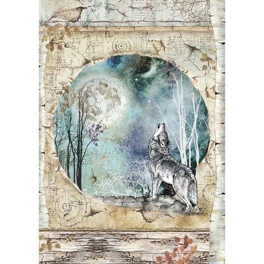 Ριζόχαρτο Stamperia 21x29cm A4, Cosmos wolf & moon