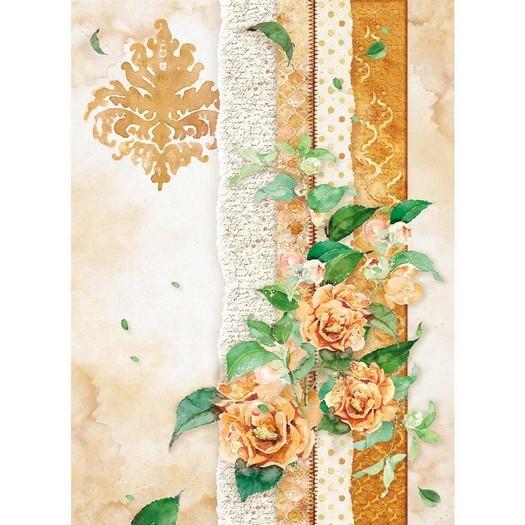 Ριζόχαρτο Stamperia 21x29cm A4,  Flowers for you ocher