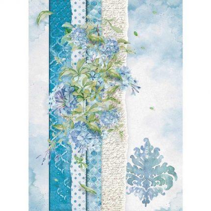 Ριζόχαρτο Stamperia 21x29cm A4,  Flowers for you light blue