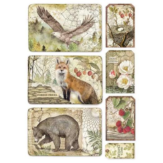 Ριζόχαρτο Stamperia 21x29cm A4, Forest framed eagle, bear, fox