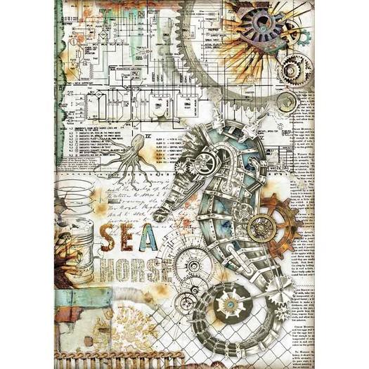 Ριζόχαρτο Stamperia 21x29cm A4, Sea World Seahorse