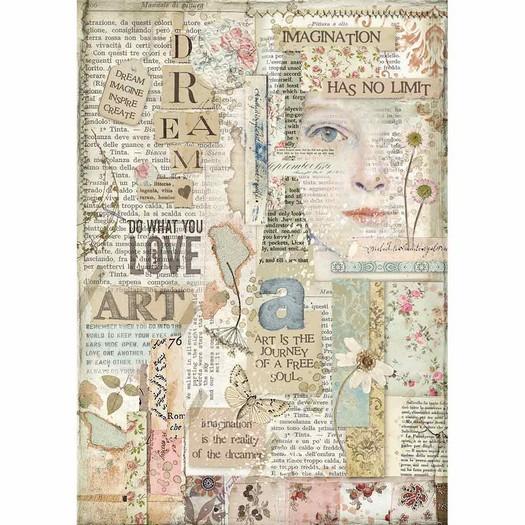 Ριζόχαρτο Stamperia 21x29cm A4, Love art