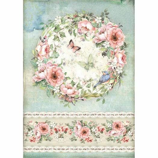Ριζόχαρτο Stamperia 21x29cm A4, Roses and butterfly