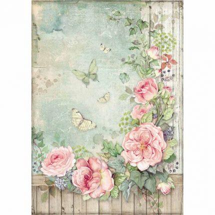 Ριζόχαρτο Stamperia 21x29cm A4, Roses garden with fence