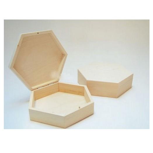 Κουτί ξύλινο εξάγωνο 19cm