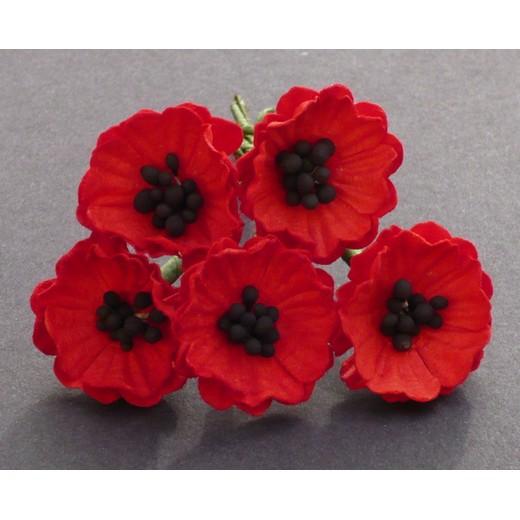 Λουλούδια POPPY FLOWERS RED, 20mm