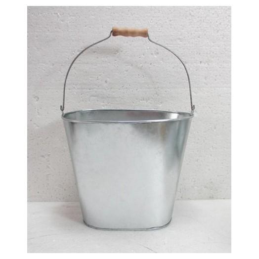 Μεταλλικός-Τσίγκινος κουβάς με ξύλινο χερούλι 22.5x14.5x19.5/34.5 cm