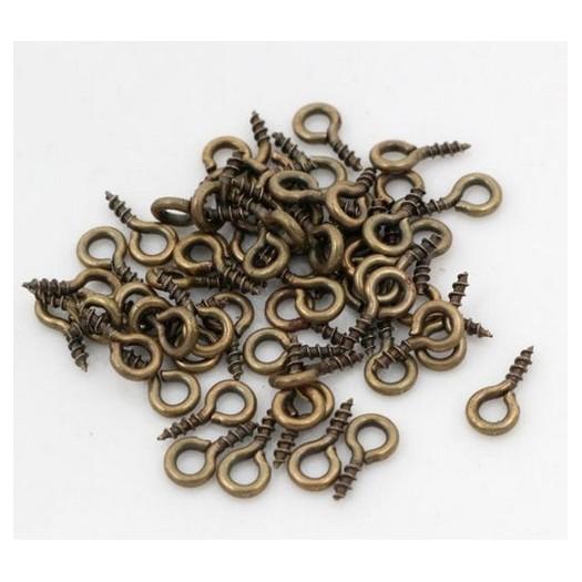 Βιδωτά άγκιστρα bronze 0,8cm +/-100τεμ
