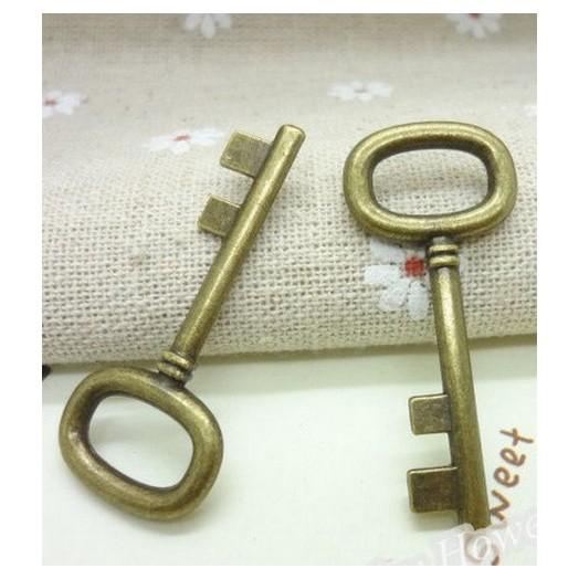 Antique Bronze Metal Keys 42mm - 4 τεμ
