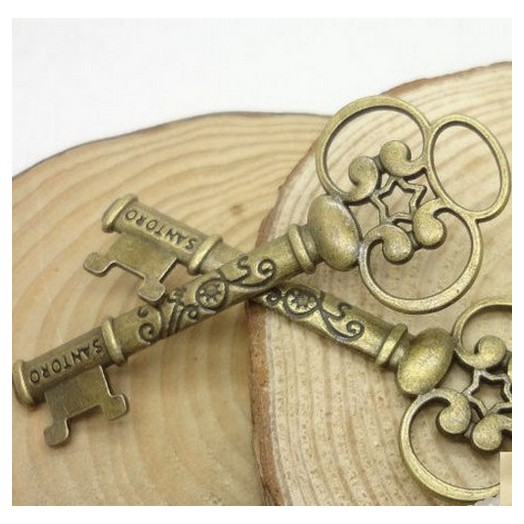 Antique Bronze Metal Keys 60mm - 2 τεμ