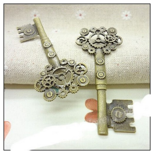 Antique Bronze Metal Key 72mm - 1 τεμ