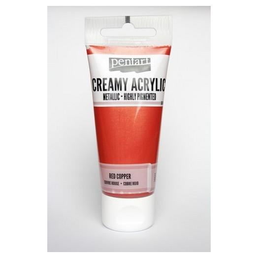 Χρώμα ακρυλικό Creamy 60ml Pentart - Metallic Red Copper