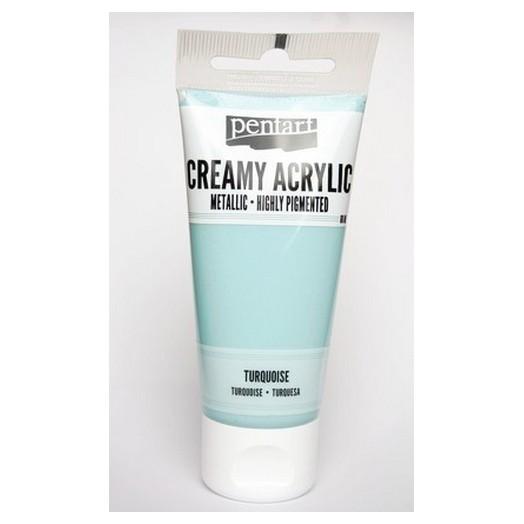 Χρώμα ακρυλικό Creamy 60ml Pentart - Metallic Turquoise