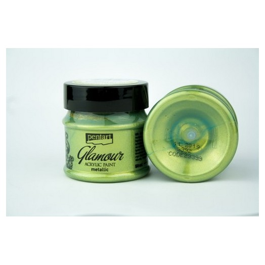 Glamour Acrylic Paint Metallic 50ml Pentart - Greenish Gold