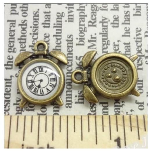Antique Bronze Metal Mini Clocks 16mm - σετ 4 τεμ