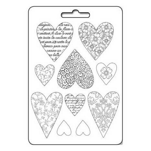 Καλούπι εύκαμπτο 21x29cm Textured hearts, Stamperia