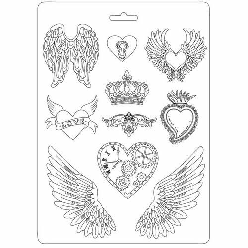 Καλούπι εύκαμπτο 21x29cm, Stamperia, Hearts & Wings