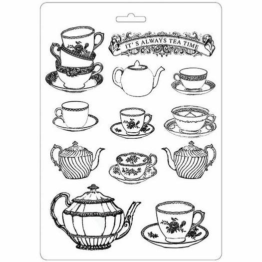 Καλούπι εύκαμπτο A4, 21x29cm, Stamperia, Tea time