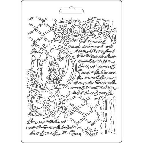 Καλούπι εύκαμπτο A5, 15x21cm, Stamperia, Butterfly and manuscripts