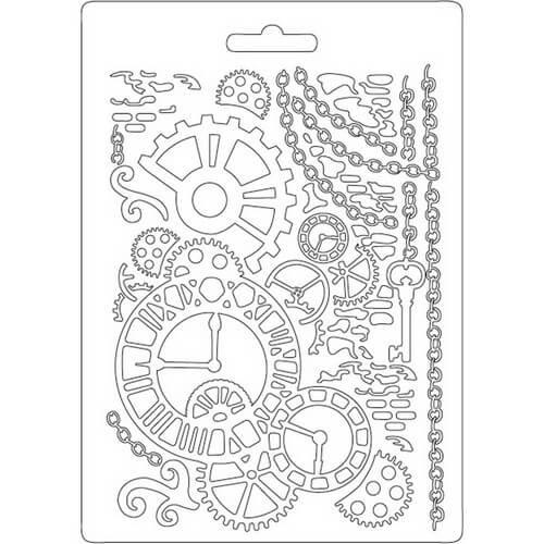 Καλούπι εύκαμπτο A5, 15x21cm, Stamperia, Clock and mechanisms