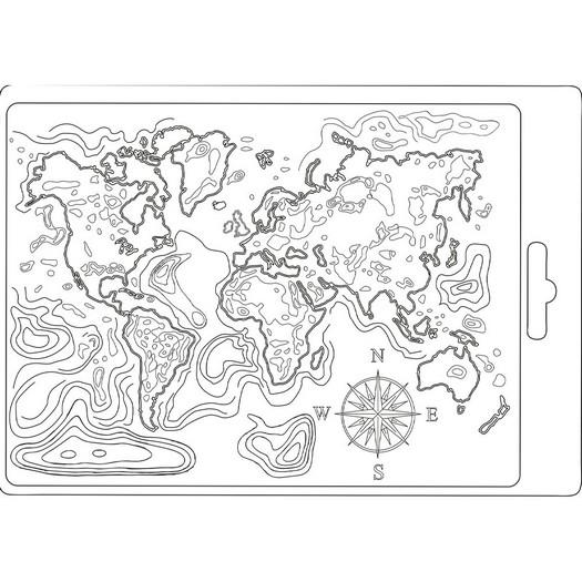 Καλούπι εύκαμπτο A5, 15x21cm, Stamperia, Map Around the World