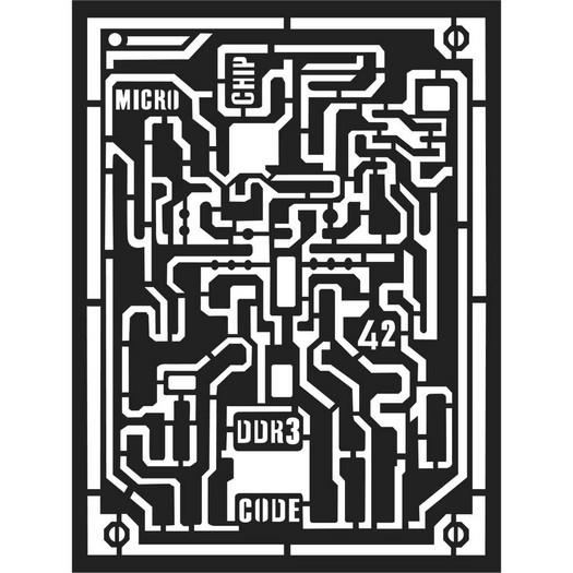 Thick Stencil 15x20cm, Stamperia,  Microchip