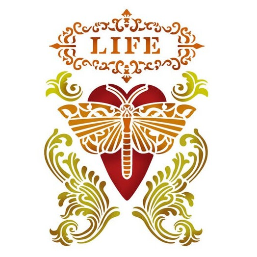 Stencil Life Heart with Dragonfly 20x15cm , Stamperia