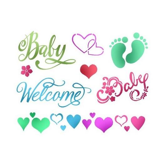 Stencil 20X15cm, Stamperia, Baby welcome