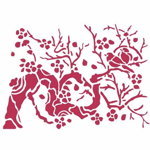 Stencil 20x15cm, Stamperia, Bird on a branch