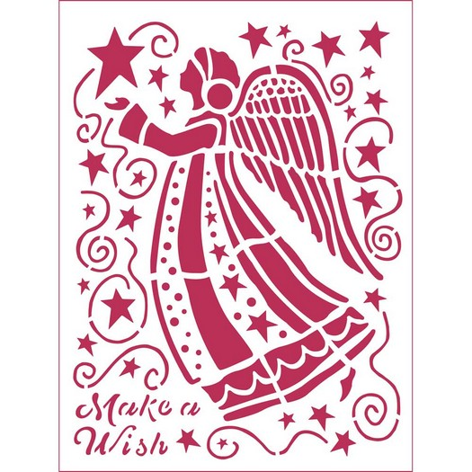 Stencil 20x15cm, Stamperia, Make a wish Angel