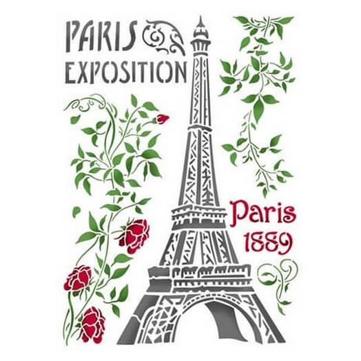 Stencil 21x29,7cm Paris Tour Eiffel ,Stamperia