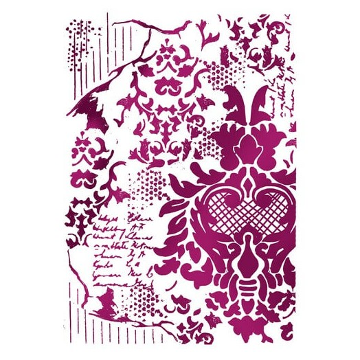 Stencil Decoration with writings 21x29,7cm , Stamperia