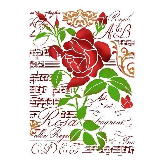 Stencil 21x29,7cm, Stamperia, Rose and music