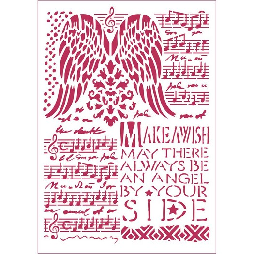 Stencil 21x29,7cm, Stamperia, Music and wings