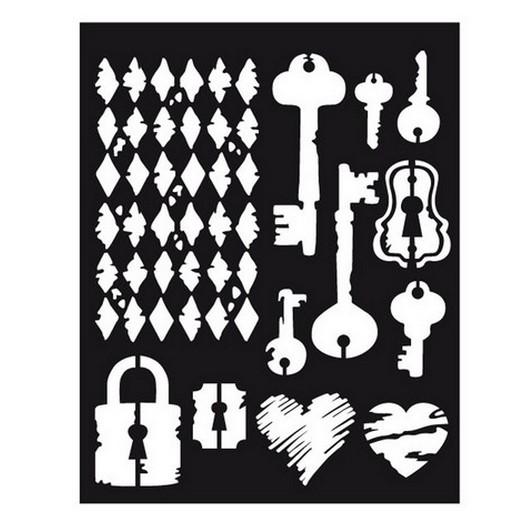 Thick Stencil 20x25cm/0,5 Keys, Stamperia