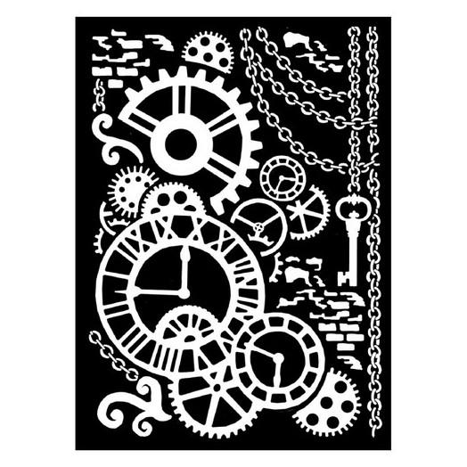 Thick Stencil 20x25/0.5 mm Stamperia, Steampunk Gears