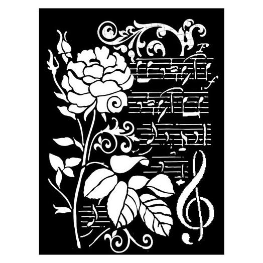 Thick Stencil 20x25/0.5 mm Stamperia, Rose & Music